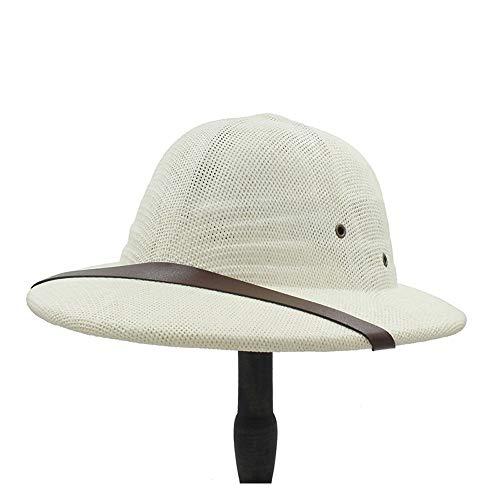 Xuguiping eenvoudige meloen mode Vietnamnamaakrieg cap dames heren Explorer strohoed zomer boog emmer zonnehoed Jungle Miner Cap xuguiping 56/58 cm wit