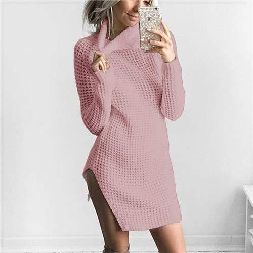 GMZA vrouwen trui jurk herfst winter lange mouw coltrui breien jurk hoge Split partij jurk