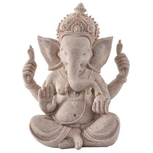 Religioso Arenaria Ganesha Buddha Elephant Statue Scultura Fatta a Mano Figurina in Miniatura Ornamento Stile Casuale