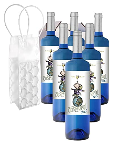 ESTUCHE 6 Bot 3/4 VINO BLANCO Semi Dulce (Verdejo y Moscatel) Marca COSMOPOL (embotellado en La Rioja) Equivalente a 4,5 l ¡REGALO! Enfriador de vino.