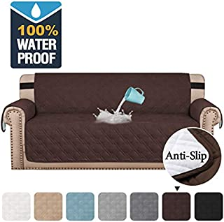 H.VERSAILTEX 100% Waterproof Sofa Protector Cover Couch Covers for Dogs/Pets | Sofa Covers for 4 Cushion Couch Leather Sofa Slipcovers with Non Slip Backing (Seat Width 78