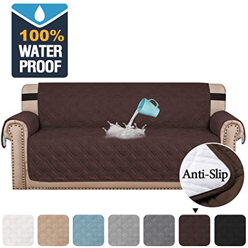 "H.VERSAILTEX 100% Waterproof Sofa Protector Cover Couch Covers for Dogs/Pets | Sofa Covers for 4 Cushion Couch Leather Sofa Slipcovers with Non Slip Backing (Seat Width 78"", Chocolate)"