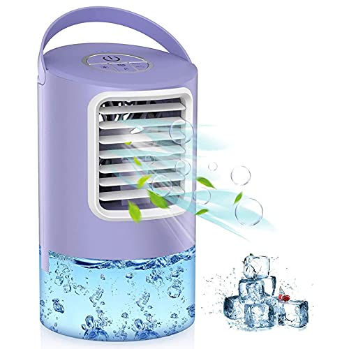 ZTENG Mini Air Cooler, 4 in 1 Portable Mini Air Condition, USB Air Cooler Humidifier Fan Purifier with 3 Adjustable Speeds 7 LED lights, Air Conditioner for Home Office Purple
