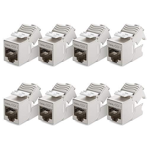 deleyCON 8X CAT6a Mini Keystone Jack Modul Patchkabel Netzwerkkabel Verbinder STP Schirmung RJ45 Buchse Netzwerk Dose Patchpanel Keystonehalterung Erweiterung