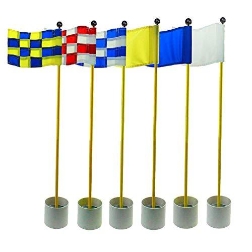 Crestgolf 3Sets Backyard Practice Golf Hole Pole Cup Flag Stick, 3 Section,Golf Putting Green Flagstick (Randomly Send Mixed Colors)