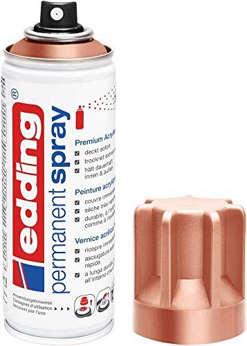 edding 5200 Permanent-Spray - kupfer matt - 200 ml - Acryllack zum Lackieren und Dekorieren von Glas, Metall, Holz, Keramik, lackierb. Kunststoff, Leinwand, u. v. m. - Sprühfarbe