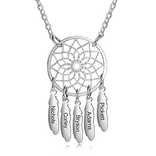 Collar de atrapasueños personalizado Collar de plata esterlina personalizado para madres Collar de atrapasueños bohemio Cadena Flor hueca Hoja Collares colgantes Joyas para mujeres y niñas