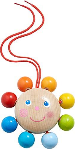 HABA 305233 - Hängefigur Rund & bunt, Babyspielzeug für Babyschale, Buggy und Spielbogen, mit Glöckchen, Greifspielzeug ab 6 Monaten