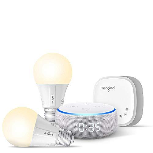 Echo Dot with clock (Sandstone) Bundle with Senged 2-pack smart bulb starter kit
