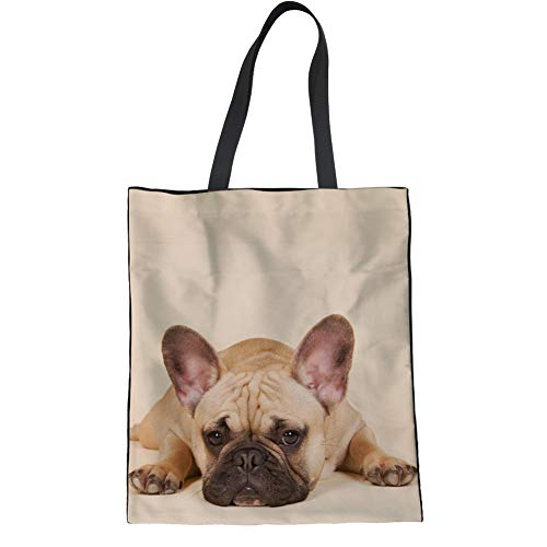 Coloranimal Womens Big Capacity Shoulder Shopping Bag Funny 3D Animal Pug Dog Print Heavy Duty Reusable Grocery Handle Purse