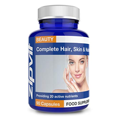 Hair, Skin and Nails Complete Supplement. Provides 20 Active Nutrients Including Biotin, Zinc, Copper and Vitamin C. 90 Capsules.