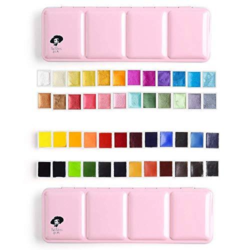 Paul Rubens 24 Colors Watercolor Paints-Glitter Solid Colors with 24 Colors Watercolor Paint Set