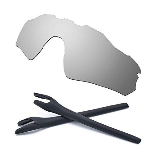 HKUCO For Oakley Radar EV Path Silver Polarized Replacement Lenses And Black Earsocks Rubber Kit