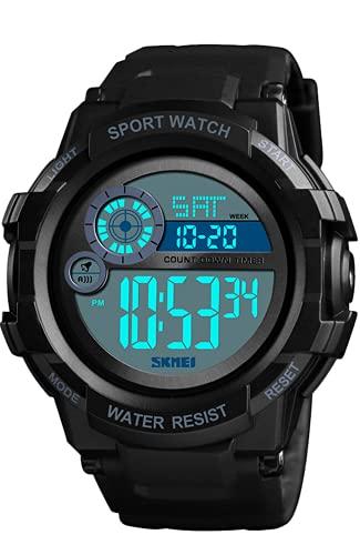Reloj Digital Niños, 5 ATM Impermeable Relojes de Pulsera de Grande para Niños Adolescentes, Relojes Deportivos para Hombre Negro con LED/Temporizador/Alarma/Cronómetro