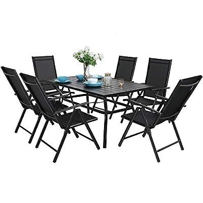 "MFSTUDIO 7PCS Outdoor Patio Dining Set, 6 Folding Reclining Chairs, 1 Rectangular Table with 1.57"" Umbrella Hole, Lawn Backyard Garden Furniture Sets, Black"