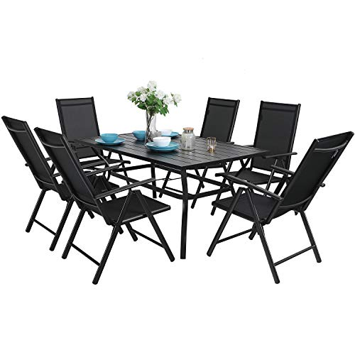 "MFSTUDIO 7PCS Outdoor Patio Dining Set, 6 Folding Reclining Chairs, 1 Rectangular Table with 1.57"" Umbrella Hole, Lawn Backyard Garden Furniture Sets, Black"