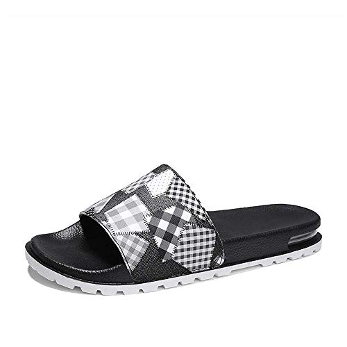 YLLAND Slide Sandale Männer Sandalen Sommer Word Hausschuhe Luftkissen Hausschuhe (Farbe: Schwarz, Größe: 43) LNNDE (Color : Black, Size : 45)