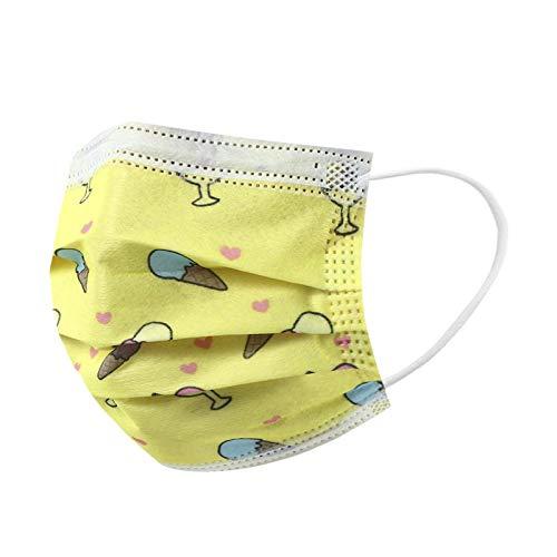 Kinder Mundschutz Multifunktionstuch, Einweg 3-lagig Cartoon Regenbogen Gedruckt Maske, Staubdicht Atmungsaktive Vlies Mund-Nasenschutz Bandana Halstuch