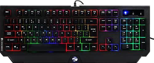 ZEBRONICS Zeb-Transformer K2 Gaming Keyboard, 104 Keys, Multicolor LED Laser Keycaps (Gold Plated USB Connector, Braided Cable)