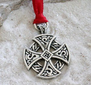 Trilogy Jewelry Pewter Solar Cross Celtic Irish Druid Christmas Ornament Holiday Decoration