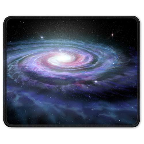 Auhoahsil Mouse Pad, Square Outer Space Mousepad Anti-Slip Rubber Mouse Mat with Durable Stitched Edge for Gaming Office Laptop Computer PC Men Women Kids, 11.8 x 9.8 in, Custom Galaxy & Stars Design