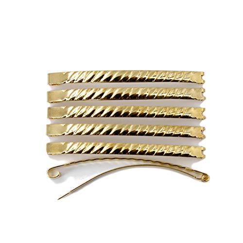 rougecaramel - 12 barrettes cheveux Fildor métal torsadé doré
