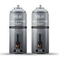 Polar BBQ & Stove Spray Paint, Matt Black Pack of 2 - (2x 400ml) High Temperature Heat Resistant Finish, Ideal for BBQ's…