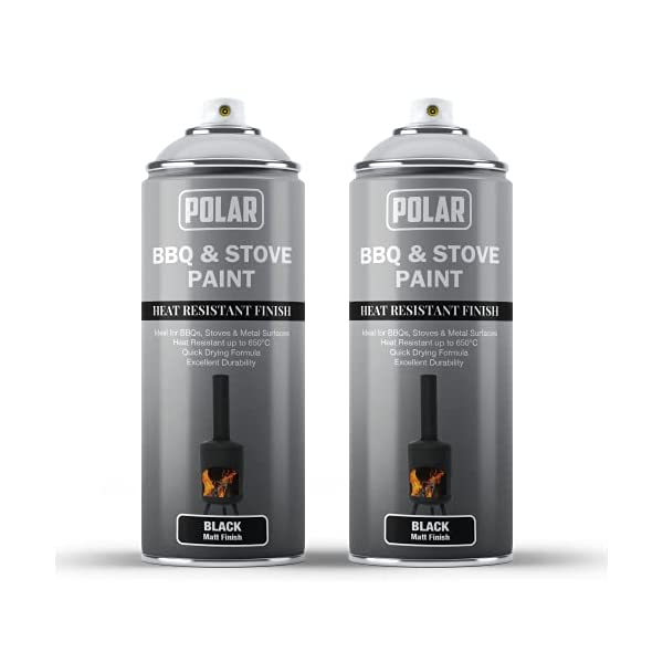 Polar BBQ & Stove Spray Paint, Matt Silver Pack of 2 - (2x 400ml) Heat Resistant Finish, Ideal for BBQ's, Stoves and…