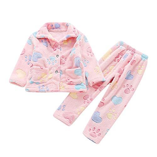 Upxiang - Pijama para niño y bebé de dos piezas, cálido y acogedor para otoño e invierno, de manga larga, de franela, con estampado de pijama Rosa 130 cm