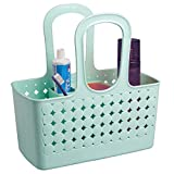iDesign Orbz Plastic Bathroom Shower Tote, Small Divided College Dorm Caddy for Shampoo, Conditioner, Soap, Cosmetics, Beauty Products, 11.75' x 6' x 12', Mint Green