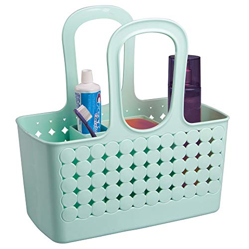 "iDesign Orbz Plastic Bathroom Shower Tote, Small Divided College Dorm Caddy for Shampoo, Conditioner, Soap, Cosmetics, Beauty Products, 11.75"" x 6"" x 12"", Mint Green"