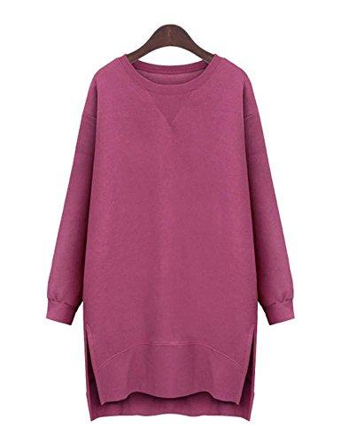 Mintsnow Womens Solid Color Long Sleeves Side Slit Fleece Sweatshirt Dress