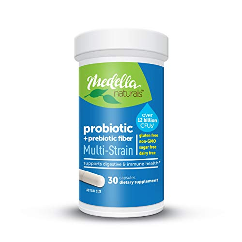 Medella Naturals Multi-Strain Probiotics + Prebiotic for Adults, 12B CFUs to Support Digestive Health, Made in the USA, 30 Capsules