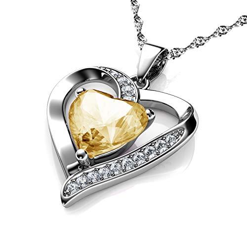 DEPHINI - Collar de corazón de plata de ley 925 - Sombra de oro con piedra natal adornada con colgante de cristal de Dephini - Collar de mujer de joyería fina chapado en rodio cadena de plata