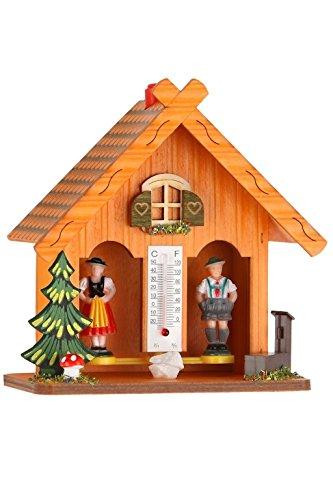 Bavariashop Design Wetterhäuschen in 3, inkl. Thermometer Farbe orange
