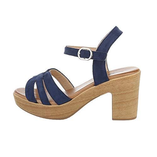 Ital-Design Damenschuhe Sandalen & Sandaletten High Heel Sandaletten, E016-2-, Kunstleder, Dunkelblau, Gr. 36