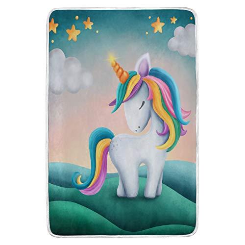 Manta de felpa de unicornio de color verde, muy suave, cálida, con diseño de estrellas y nubes de cielo, manta de forro polar, manta grande para sofá o sofá, ligera, para viajes, camping, 152 x 229 cm, para niños y niños