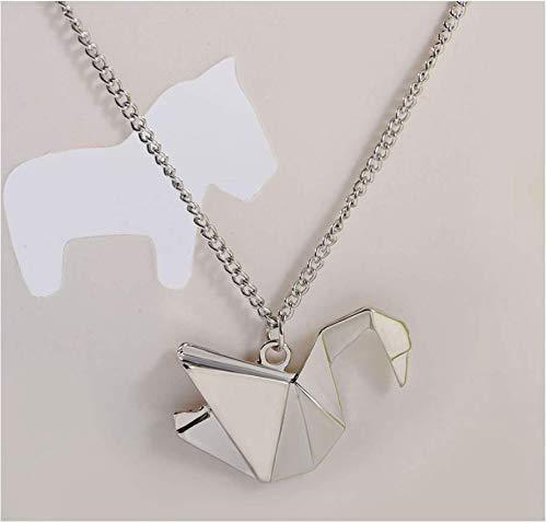 ANNIUP Lot de 2 colliers avec pendentif en forme de grue Origami - Pendentif cygne - Collier à longue chaîne - Cadeau pour femme, mère, fille, amoureuse (argenté)