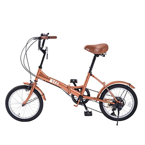 Hanks' Shop Sxy 16-Zoll-Folding 6-Gang-Variable Speed Fahrrad for Frauen, mit Bell & Mirrora1 (Color : Brown)
