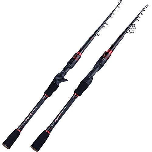 Hayandy Carbon-Spinnerei Casting M Power Angelrute Teleskop Angelrute Angelrute mit Köder Reise Forellenrute-red_2.1m Gussstange (Color : Red, Size : 1.8m Spinning Rod)