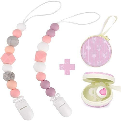 Silicone Pacifier Clip by Dodo Babies Pack of 2 + Pacifier Case, Premium Teething Bead for Girls Modern Designs Universal Holder Leash for Pacifiers, Teething Toy or Soothie, Baby Shower Gift Set