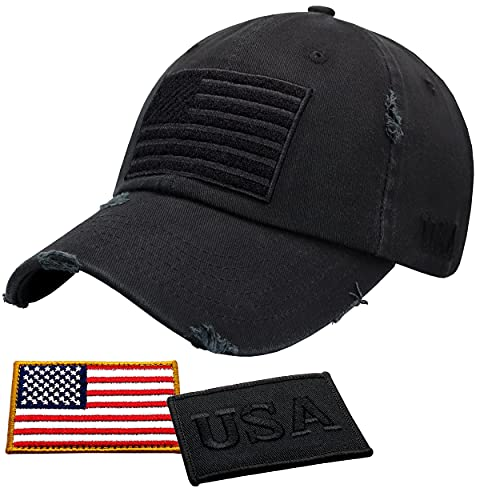 Antourage American Flag Hat for Men and Women   Vintage Baseball Tactical Hat Cap with USA Flag + 2 Patriotic Patches ((11) Black)