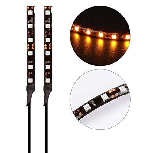 LeaningTech 2Pcs Universal 6SMD Mini Motorcycle LED Turn Signal Indicator Blinker, Tail Brake Stop Light Strip with Total 12 Led Amber