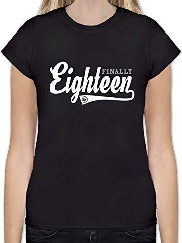 Geburtstag - Finally 18 College Stil - S - Schwarz - 18. Geburtstag mädchen - L191 - Tailliertes Tshirt für Damen und Frauen T-Shirt
