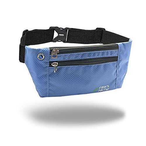 fitter's niche Slim Fanny Waist Pack for Men Women, 3 Individual Pockets Water Resistant Hip Bum Bag, Elastic Adjustable Sports Belt, Fits Phones Up to 6.7in, Ideal for Family kids Field Trip Travel Hiking Trail Running