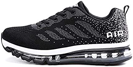 KRFE Women Running Shoes Sports Trainers Air Shock Absorbing Sneakers for Walking Gym Jogging Fitness Lightweight BlackWhite38