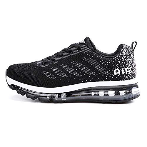 Sumateng Zapatillas de Deportes Hombre Mujer Zapatos Deportivos Aire Libre para Correr Calzado Sneakers Gimnasio Casual Black White 45 EU