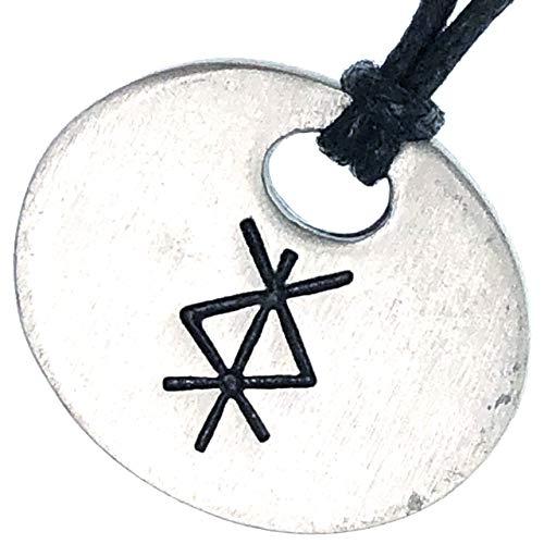 PROTECTION BIND RUNE Algiz+Soluwo Icelandic Viking Pewter Men Pendant Necklace w Black adjustable cord