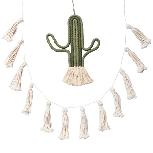 C&S DESIGN Tassel Pom Pom Garland and Cactus Macrame Decor, Cute Wall Hanging Farmhouse Boho Home and Bedroom Decor, String Banner for Kitchen, Living Room, Nursery Room and Room Decorations, 2 Pack