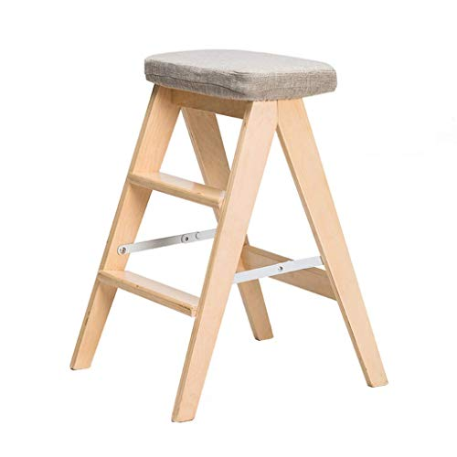 MFWallMirror opstapkruk ladder, inklapbaar, multifunctionele ladder, keukenladder, boekenkast, mini-ladder met 3 treden, afneembaar kussen (strepen)